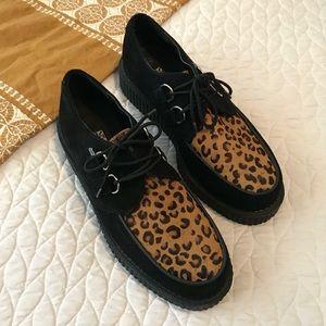 TUK Leopard & Black Creeper Shoes Men 11 Women 13